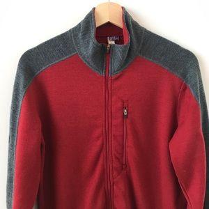 ibex red and gray merino wool zip up